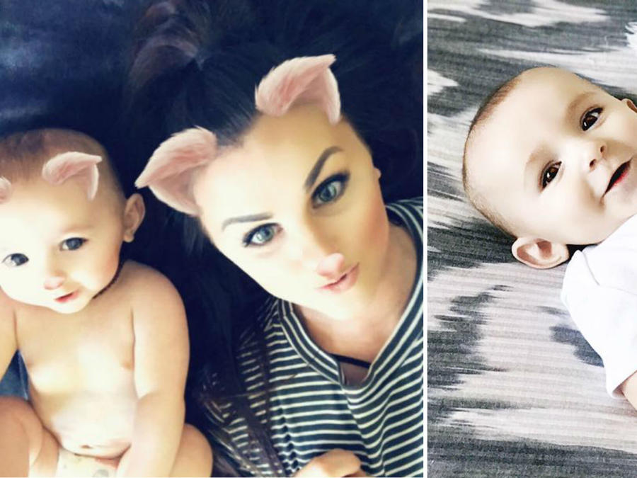 Jordan DeRosier y su bebé Sloan