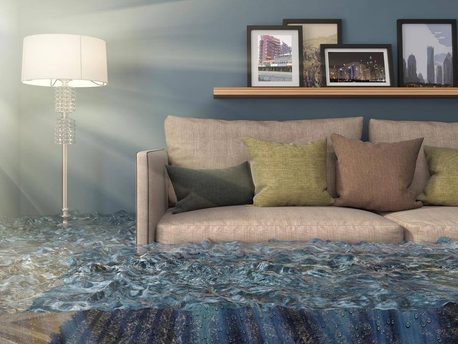 Living de una casa inundado