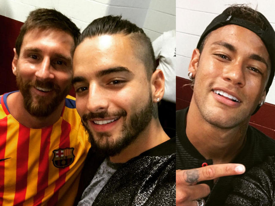 Maluma se fotografía con Messi y Neymar