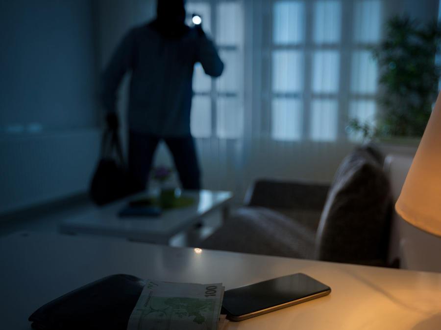 Ladrón en el interior de una casa