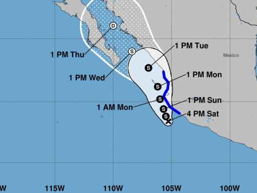 Mapa de la depresión 18 frente a las costas del Pacífico mexicano