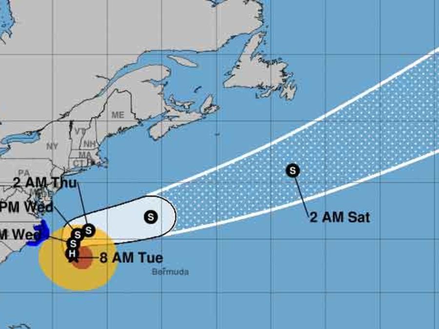 Mapa con la posible trayectoria del huracán María