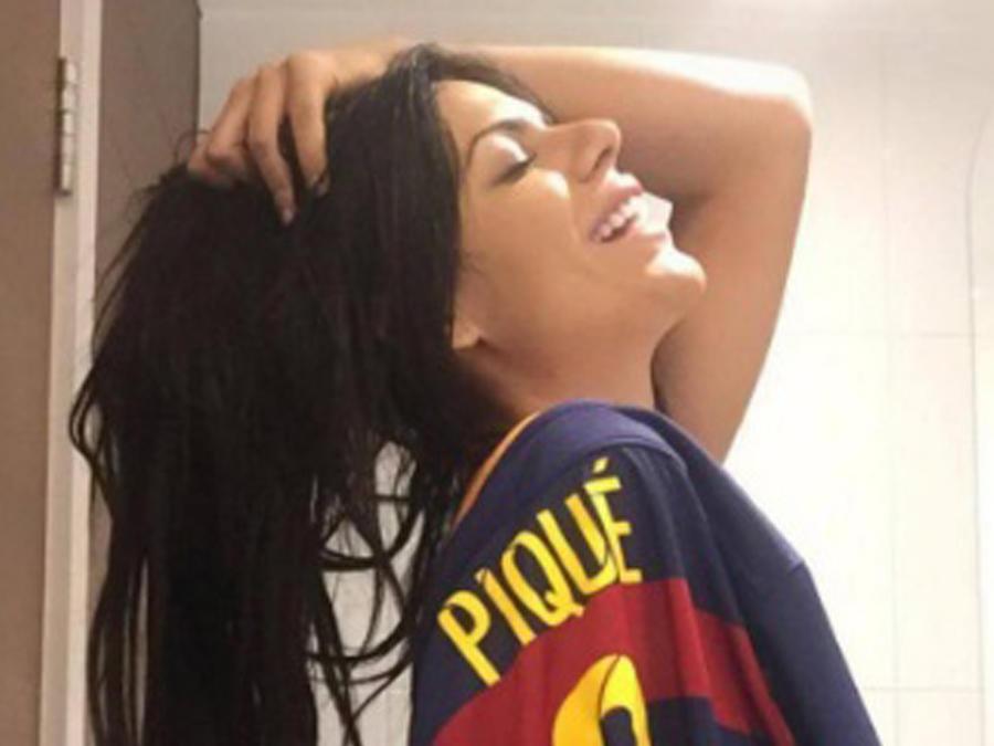Suzy Cortez con camiseta del Barcelona