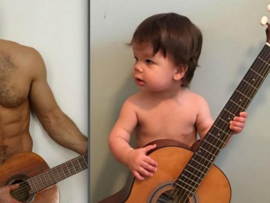 Augie y Aris con su guitarra
