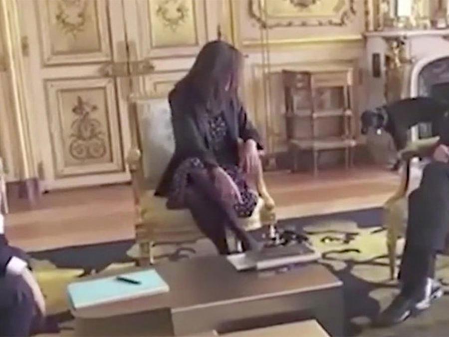 El perro del presidente Frances orina en plena reunión (VIDEO)
