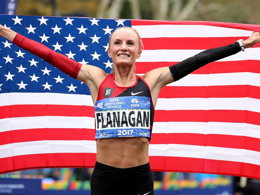 Shalane Flanagan en el maratón de NY