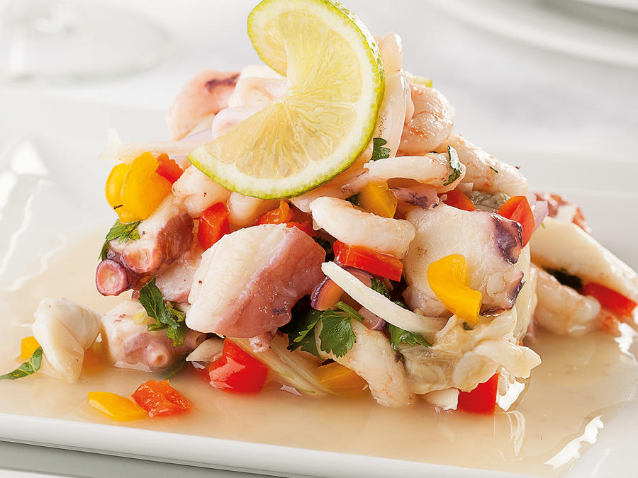 Ceviche on white plates