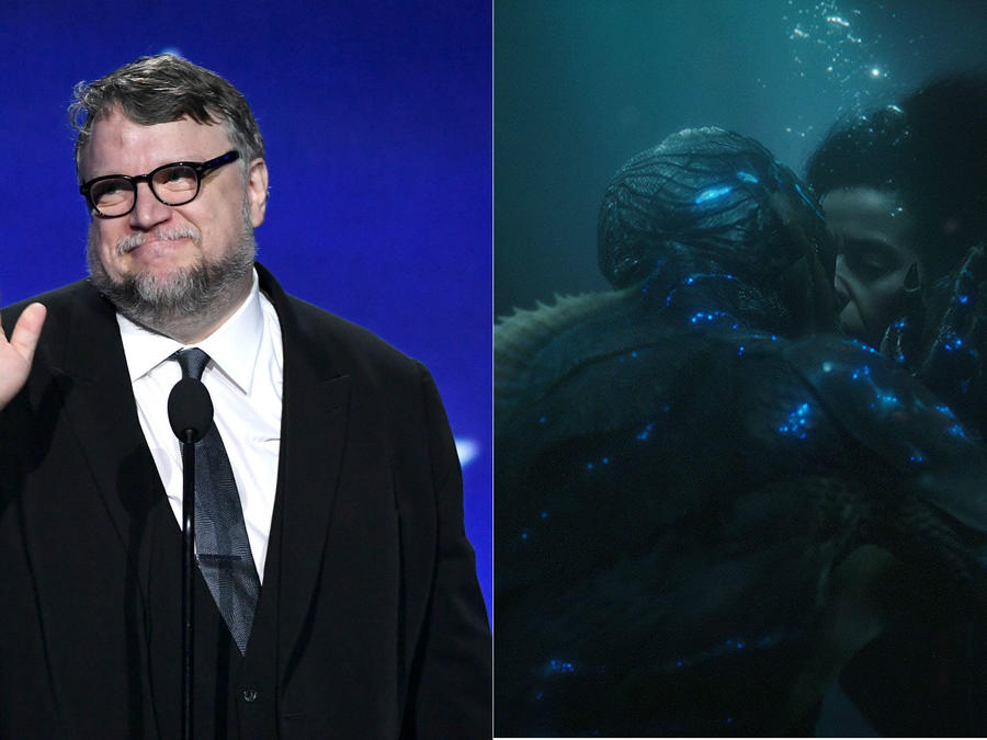 Guillermo del Toro junto a una escena de The Shape of Water.