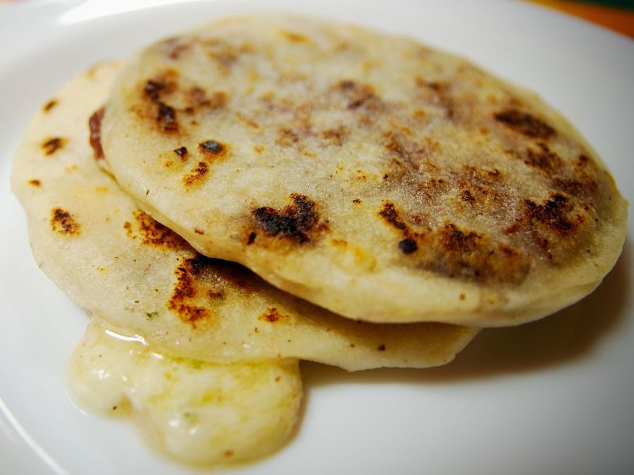 Salvadorean pupusas on a plate.