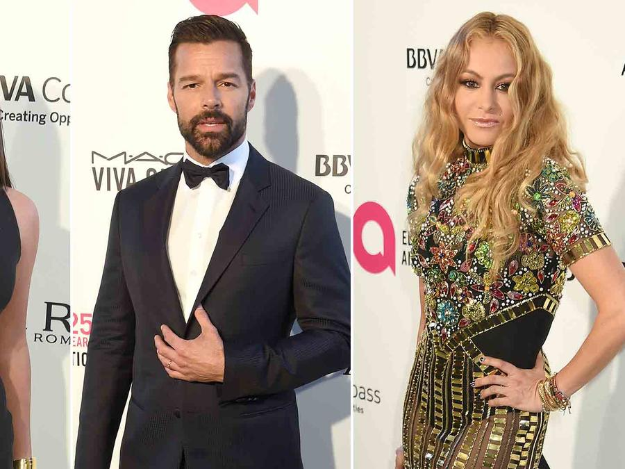 Lea Michele, Ricky Martin, Paulina Rubio at the Elton John AIDS Foundation party