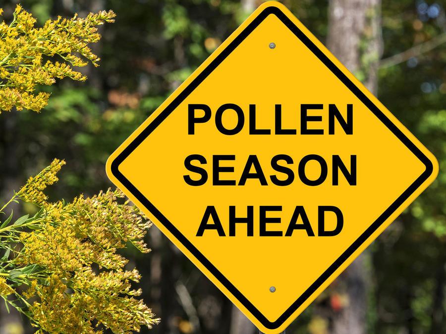 Cartel de aviso de estación del polen