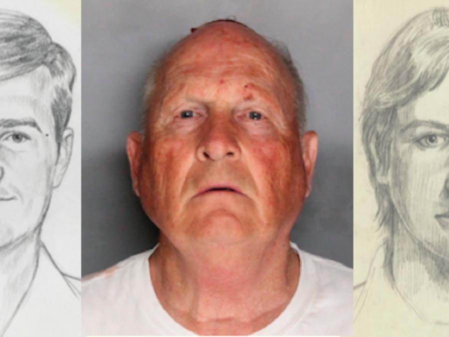 El presunto Asesino del Golden State, junto a dos retratos policiales para su captura.