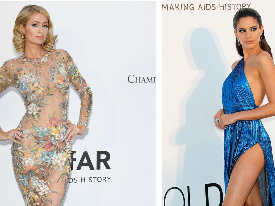 Collage Paris Hilton y Sara Sampaio en la gala amfAR 2018
