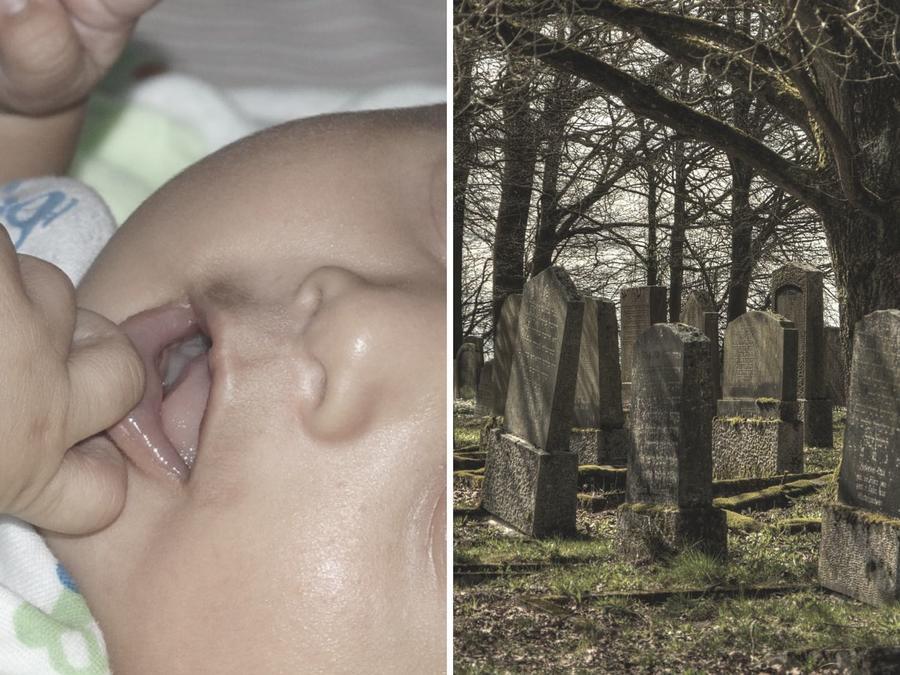 En Filipinas encontraron a un bebé de dos meses entre dos tumbas.