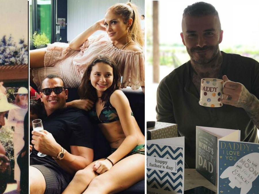 Collage papás famosos festejando