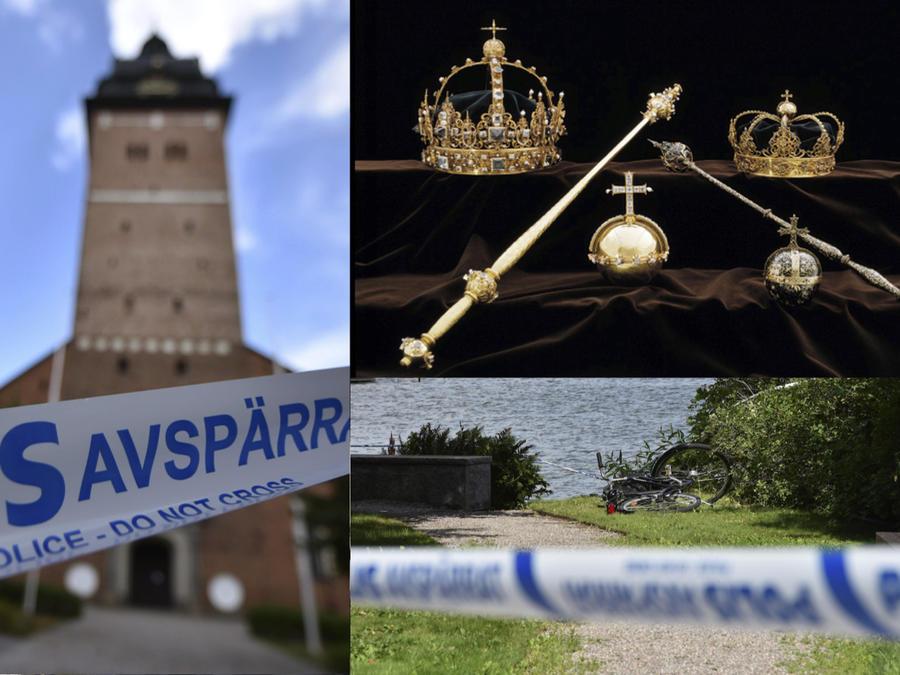 La catedral de Strangnas, las joyas robadas, y la bicicleta usada para llegar hasta la lancha motora.