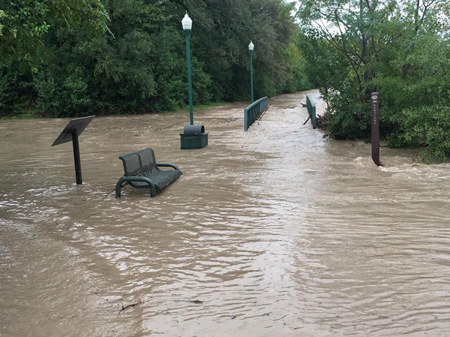 Crecida del río San Gabriel en Georgetown en Texas