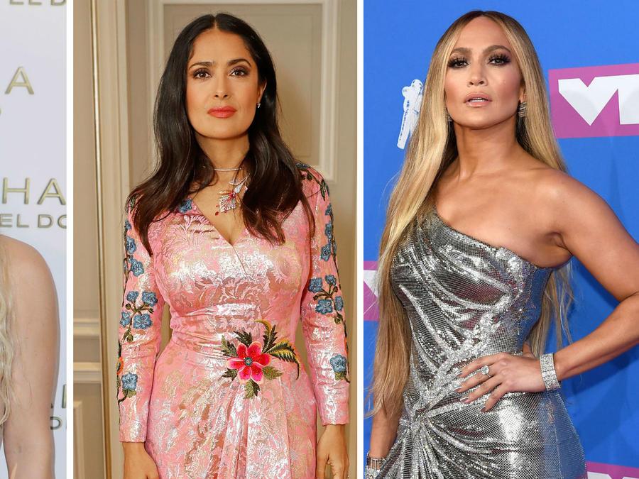 Collage Shakira, Slama Hayek y Jennifer Lopez