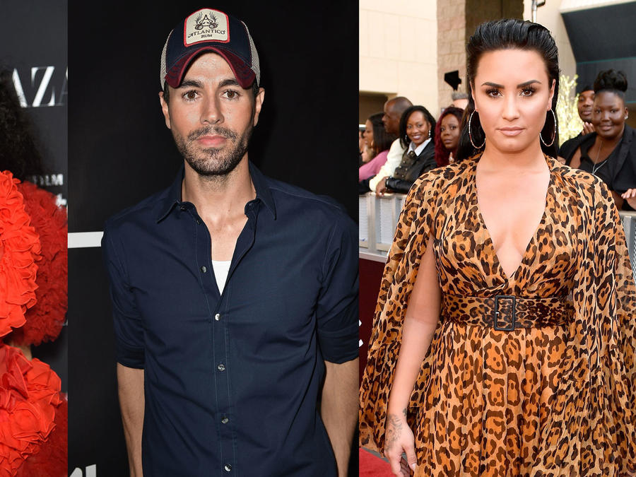 Collage Cardi B, Enrique Iglesias, Demi Lovato