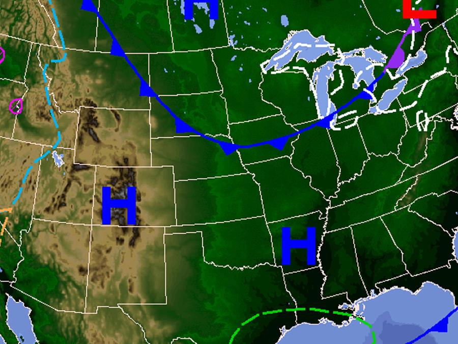 Mapa del temporal que se espera para el Día de Acción de Gracias
