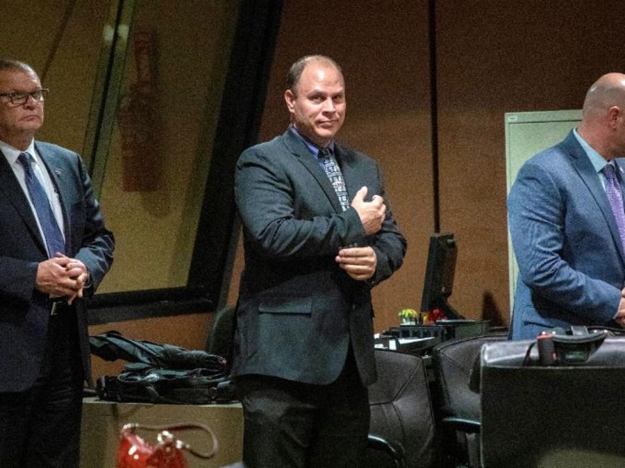El ex detective David March, el oficial Thomas Gaffney y el ex oficial Joseph Walsh, los tres policías de Chicago absueltos.