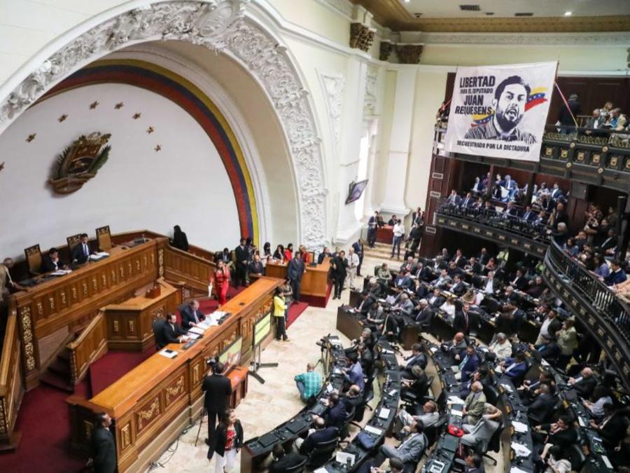 Vista general del hemiciclo de sesiones de la Asamblea Nacional de Venezuela este martes, en Caracas (Venezuela).