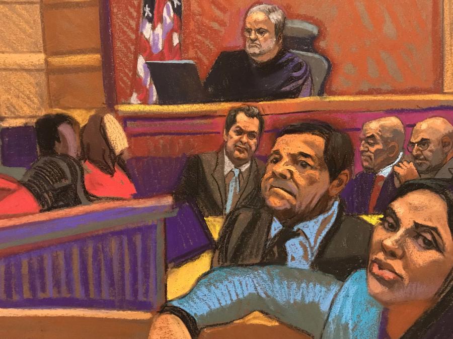 Ilustración de El Chapo, este martes 12 de febrero  de 2019 en la corte de Nueva York