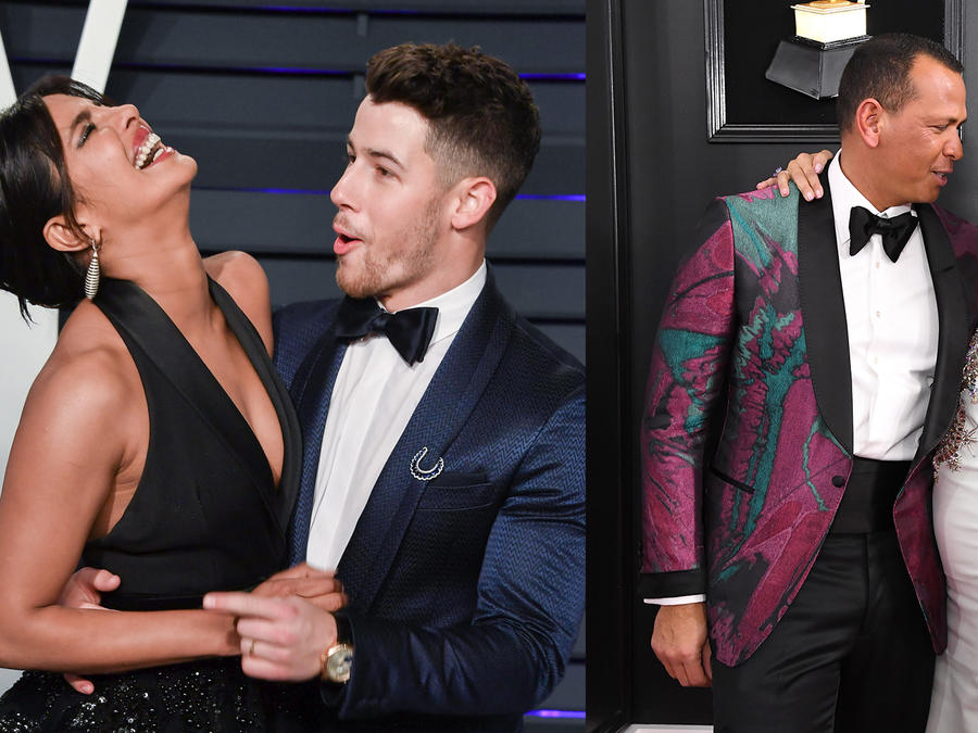 Parejas Nick Jonas con Priyanka Chopra y A-Rod con JLo