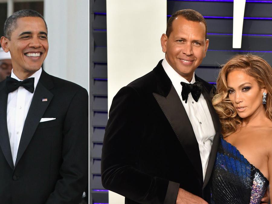 Barack Obama; Alex Rodriguez con Jennifer Lopez
