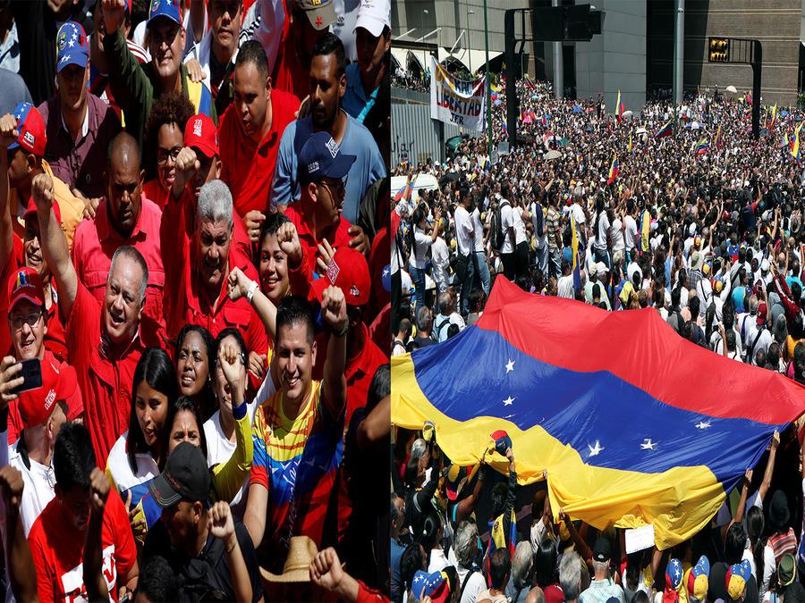 Manifestaciones a favor de Guaidó y Maduro hoy en Caracas