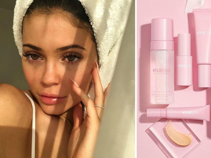 Kylie Jenner con su nueva línea de cuidado facial