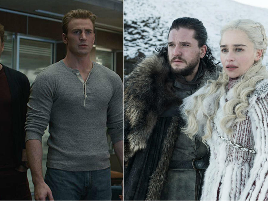 """Robert Downey Jr. y Chris Evans en """"Avengers: Endgame""""; Kit Harington y Emilia Clarke en """"Game of Thrones"""""""