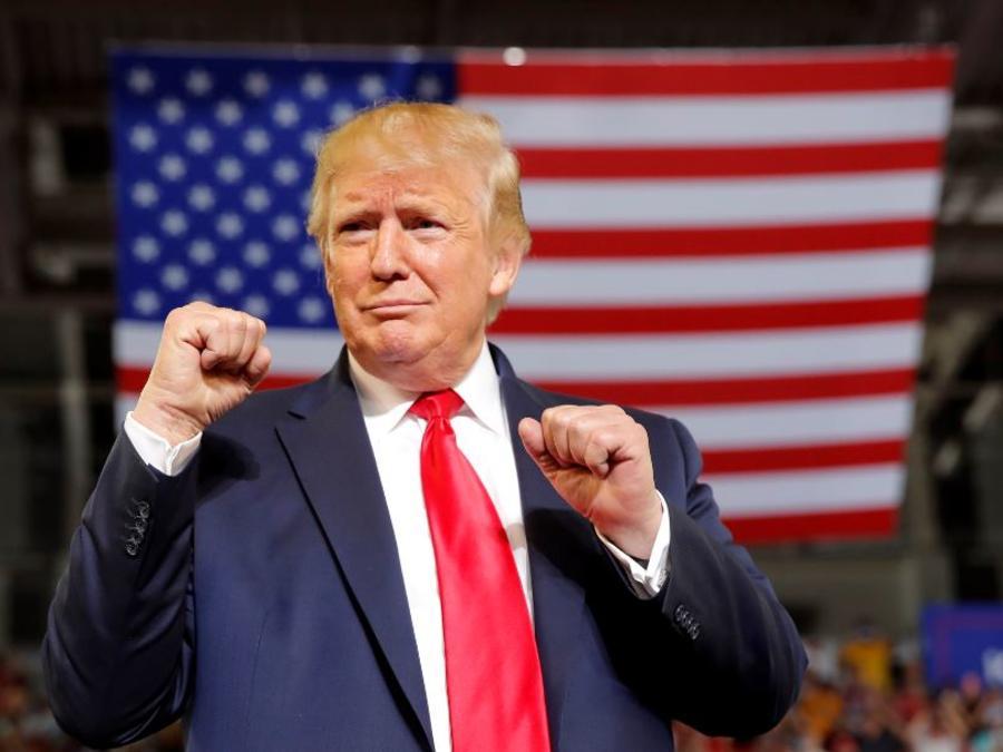 El presidente Donald Trump este miércoles en un mitin de campaña en Greenville, Carolina del Norte.