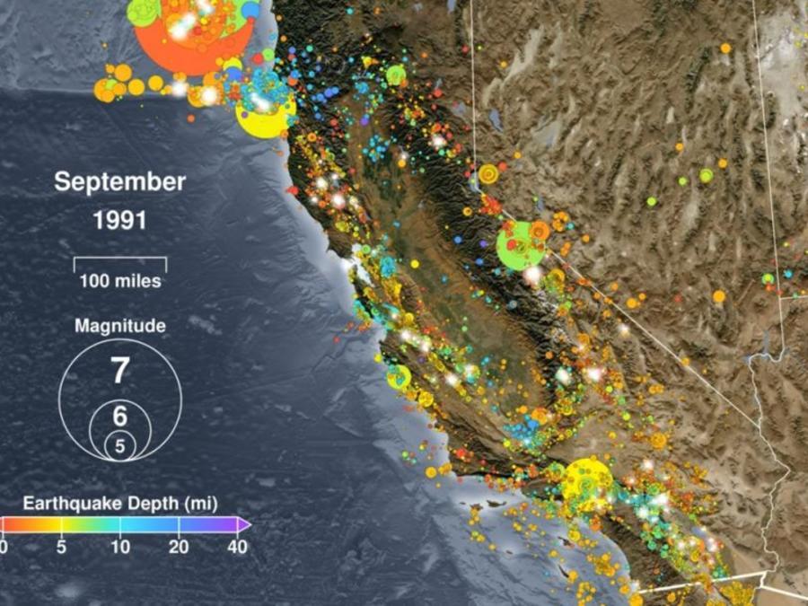 Animación muestra terremotos en California