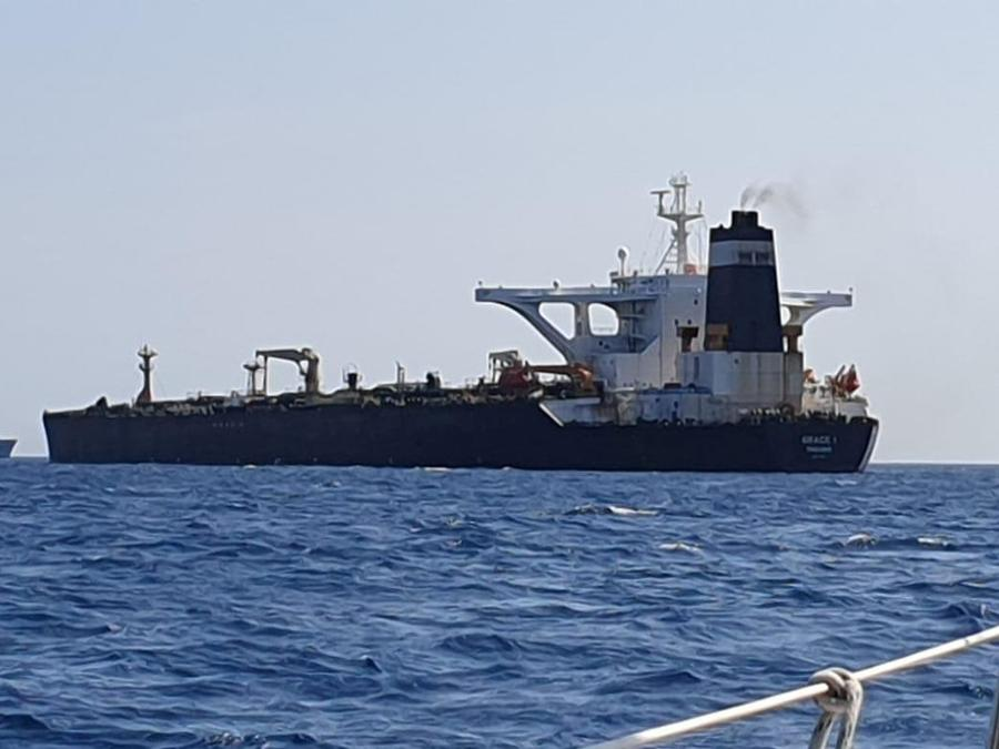 El superpetrolero Grace 1 cerca de Gibraltar,  el 4 de julio de 2019.