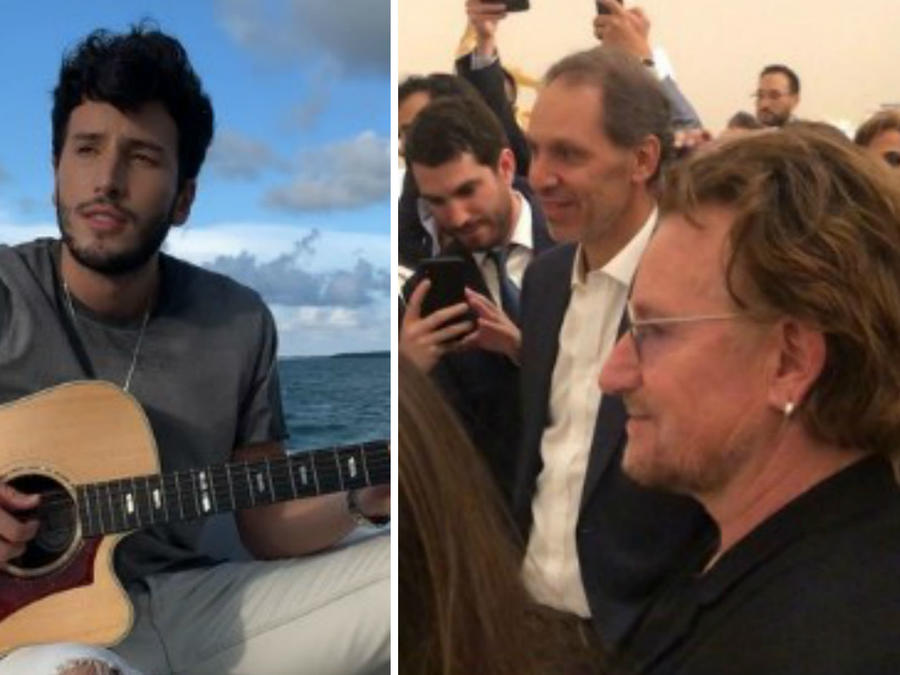 Bono viendo a Sebastián Yatra