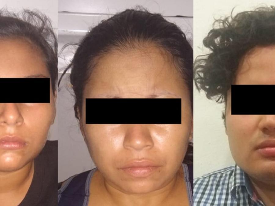 Tres de los detenidos por presuntos responsables del crimen en contra de una menor de edad.
