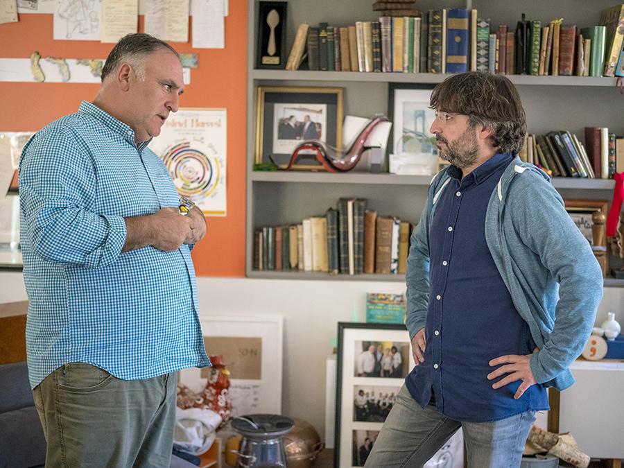 El chef José Andrés y el periodista Jordi Évole durante la grabación de 'Mr. Trump, disculpe las molestias'.