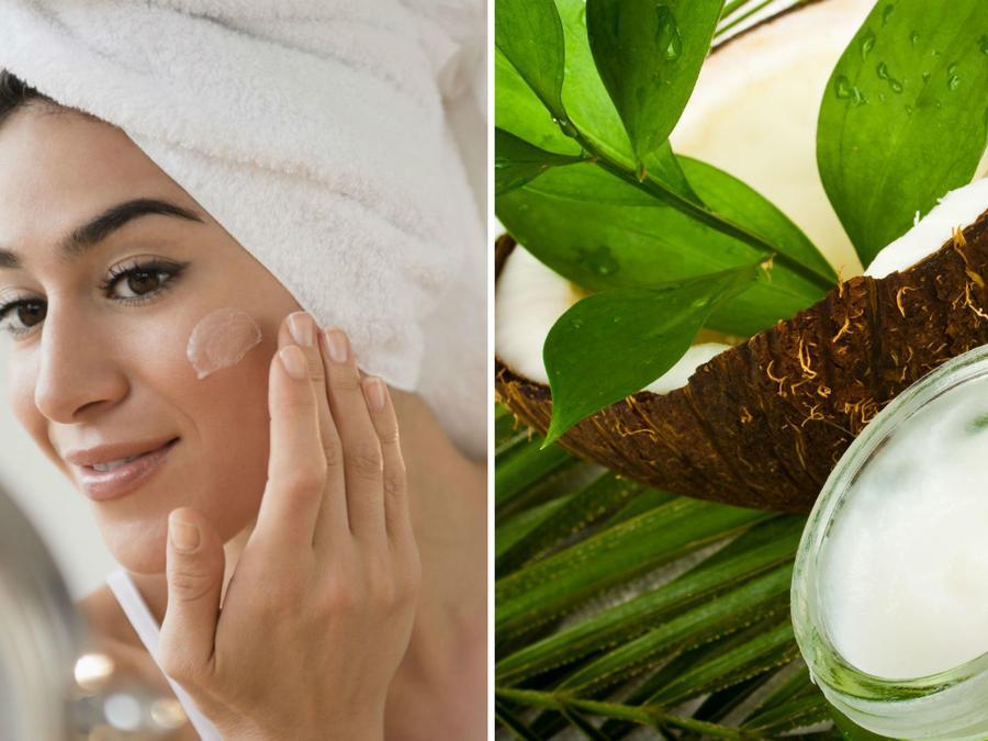 Mujer con aceite de coco