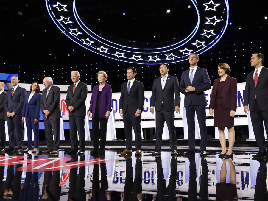 Tulsi Gabbard,Tom Steyer,Cory Booker,Kamala Harris,Bernie Sanders,Joe Biden,Elizabeth Warren,Pete Buttigieg,Andrew Yang,Beto O'Rourke,Amy Klobuchar,Julian Castro