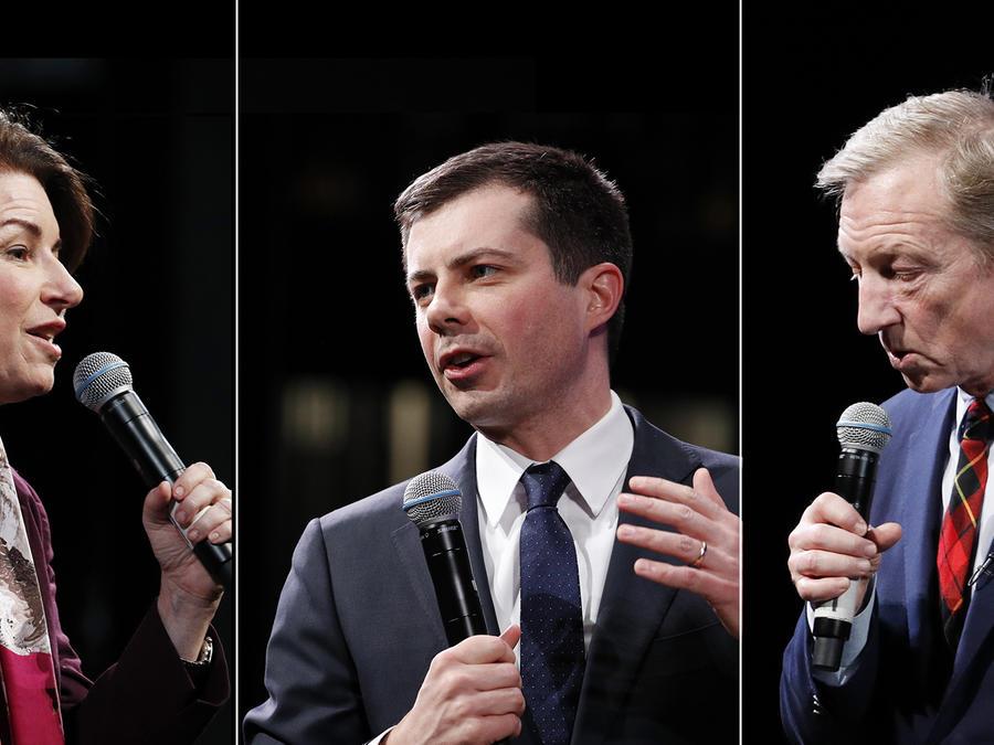 Los aspirantes a la nominación demócrata para la presidencia, Amy Klobuchar, Pete Buttigieg y Tom Steyer.
