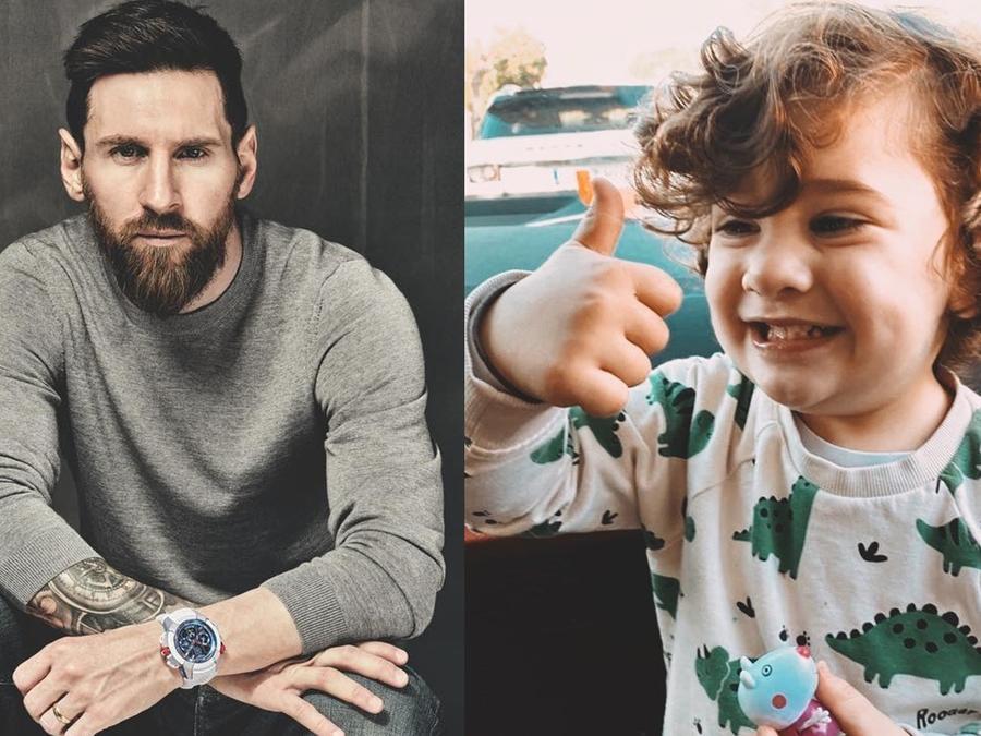 Leo Messi con su hijo Ciro