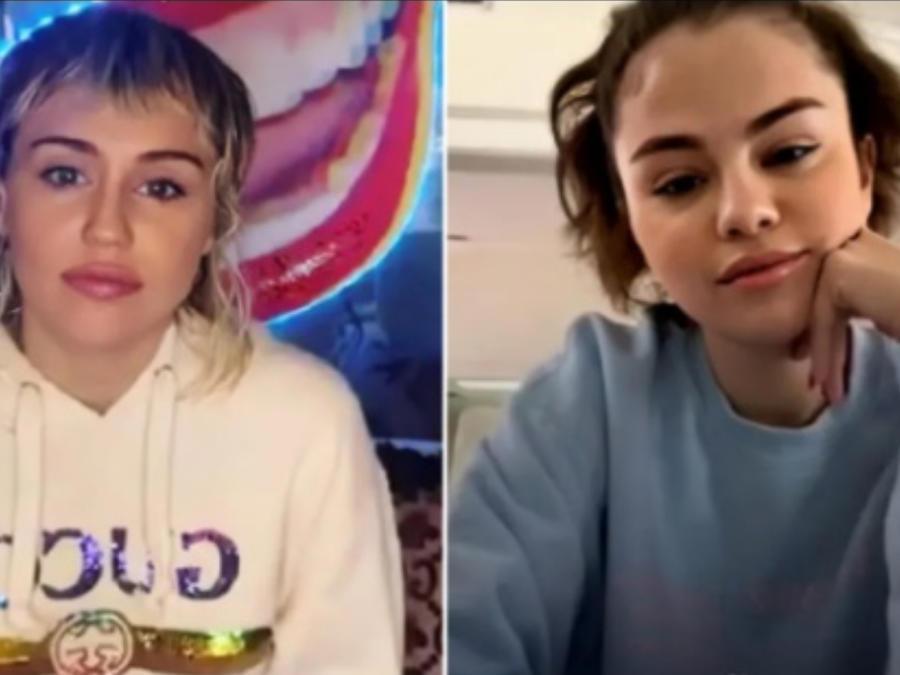 Miley Cyrus y Selena Gomez en videollamada
