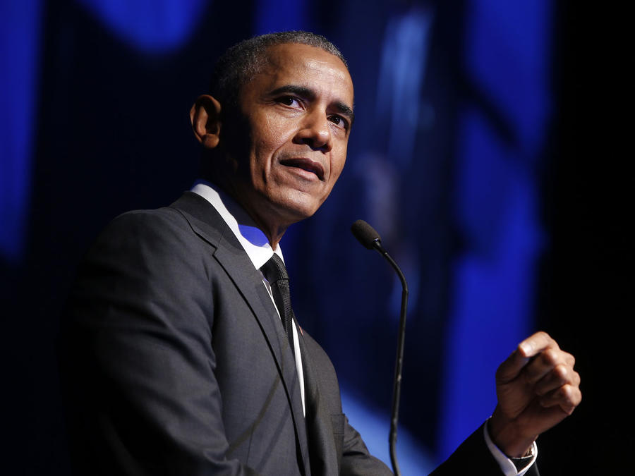 Fotografía de archivo del expresidente Barack Obama mientras da un discurso en Nueva York.