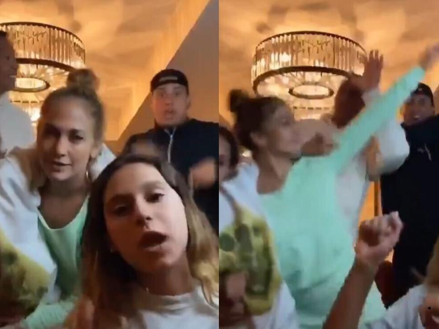 Jennifer Lopez y Alex Rodriguez bailando