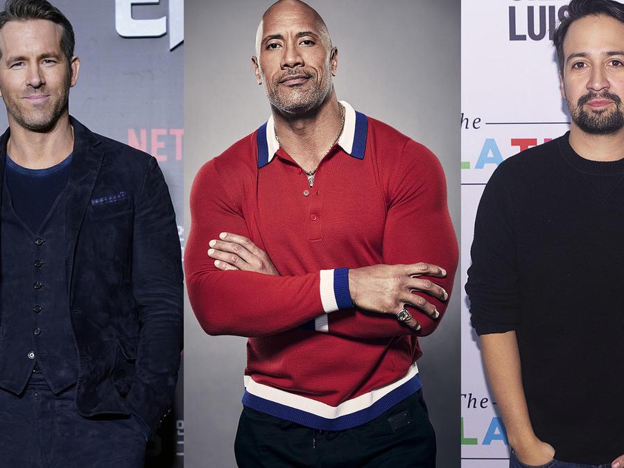 Ryan Reynolds, Dwayne Johnson y Lin-Manuel Miranda