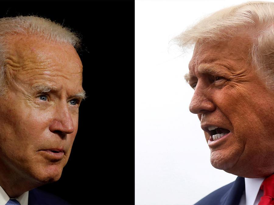 El candidato presidencial demócrata y exvicepresidente Joe Biden y el presidente Donald Trump.