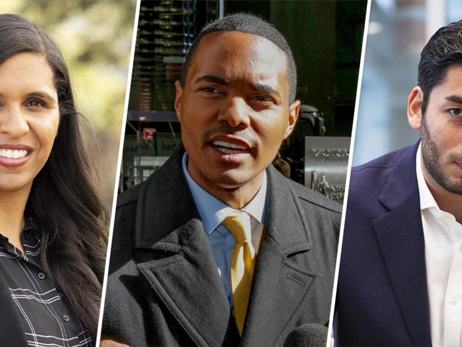Candace Valenzuela, candidata en Texas; Richie Torres, aspirante al Congreso por Nueva York, y Ammar Campa-Najjar, quien se postula por California.