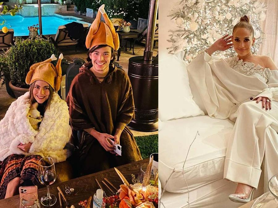 Jennifer Lopez, Claudia Vergara y Manolo González Vergara en Thanksgiving