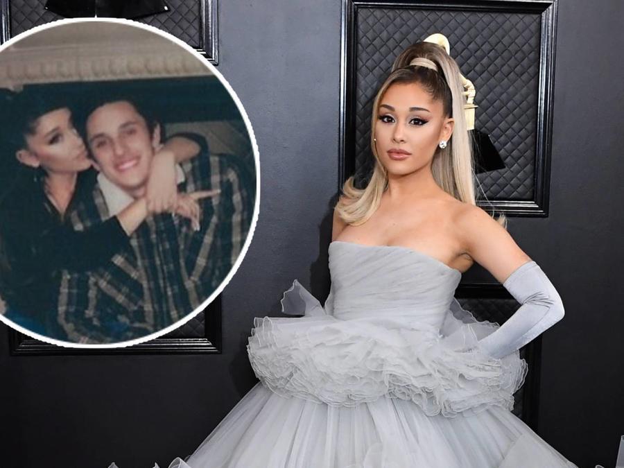 Ariana Grande en la alfombra roja de los Grammy Awards 2020, y abrazando a su pareja Dalton Gomez